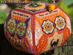 Owls of October Just Nan Autumn or Halloween cross stitch ornament