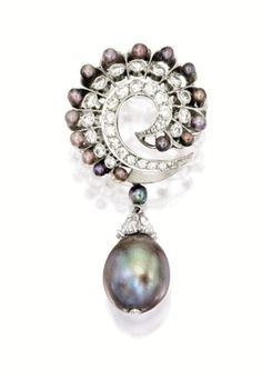 Natural Pearl, Seed Pearl And Diamond Brooch