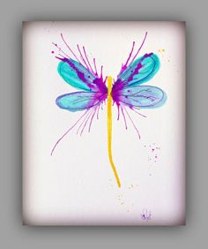Dragonfly Art Painting, Purple & Blue Wall Decor, Garden, insect, Wings 8x10 Print