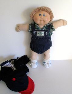 Cabbage Patch Boy Doll 1984 Coleco Tan Loop Hair Blue Eyes Diaper Extra Clothes #DollswithClothingAccessories