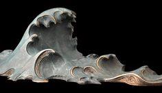 Bronze wave sculpture by John Maisano Bonsai, Sea Sculpture, Abstract Sculpture, Metal Sculptures, Art Japonais, Wave Art, Statue, Installation Art, Ceramic Art