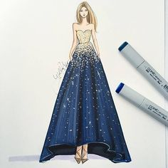 Favorite Sketches of The Year, and Tips to Draw Them:  TIP: To achieve the bold metallic effect on the top, sketch a very dark layer of blue beneath the spot where you'd like to see gold. When you apply the metallics (in this case, I used a mix of liquid leaf and Copic Opaque White), it will pop even more!