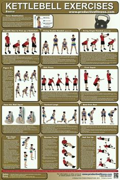 Kettlebell exercises..only don't obey the swings, going through the legs is a bad technique.