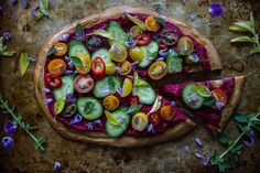 Greek Salad Pizza with Beet Hummus