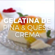 Sorprende a todos con esta fácil y deliciosa gelatina en dos capas, de piña y queso crema. ¡Te va a encantar! Mango Dessert Recipes, Gelatin Recipes, Jello Desserts, Jello Recipes, Easy Desserts, Mexican Food Recipes, Sweet Recipes, Baking Recipes, Delicious Desserts