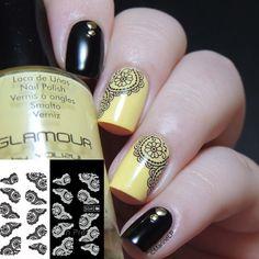 $1.86 Nail Water Decals Sticker Transfer Sticker White Black Lace Flower Pattern - BornPrettyStore.com