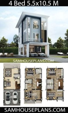 Narrow House Designs, Narrow House Plans, Craftsman House Plans, Small House Plans, Duplex House Design, House Front Design, Small House Design, Modern House Design, House Layout Plans