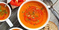 Recette de Soupe tomates et carottes aux poivrons rôtis . Facile et rapide à réaliser, goûteuse et diététique. Ingrédients, préparation et recettes associées.