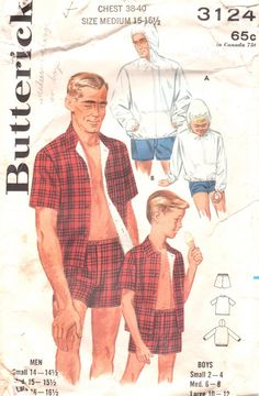 Butterick 3124 1960s  Mens Hoodie and Cabana Shorts Shirt vintage sewing pattern by mbchills on Etsy