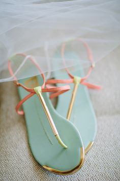 aqua and coral sandals, photo by Joielala http://ruffledblog.com/artsy-san-diego-wedding #weddingshoes #shoes