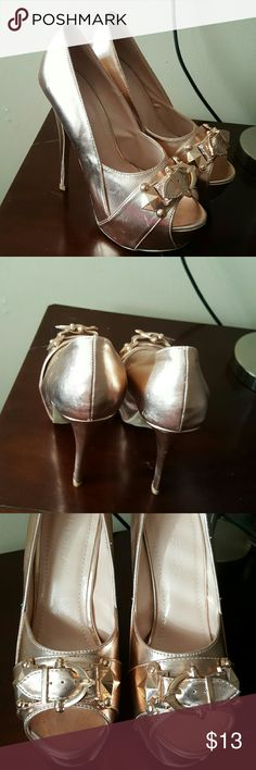 Rose gold heels Rose gold heels with a little scratch Shoes Heels