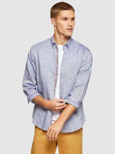 UXBRIDGE LINEN COTTON SHIRT   BLUE DARK - Oxford Shop Smart Casual, Casual Looks, Denim Button Up, Button Up Shirts, Oxford Online, Mens Trousers Casual, Shirt Sale, Workout Shirts, Mens Suits