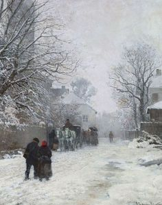 "Anders Andersen-Lundby (1841–1923), ""Vorstadtstraße im Winter, München"" (1923). Oil on canvas. Private collection (?)."