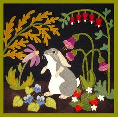 A Garden Intruder - Summer: Rabbit, Primitive, Whimsical, Wool Appliqué Motifs Applique Laine, Wool Applique Quilts, Wool Applique Patterns, Wool Quilts, Wool Embroidery, Felt Applique, Penny Rugs, Motifs D'appliques, Wool Art