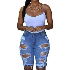 Roswear Women's Denim Destroyed High Waist Bermuda Shorts ($17) ❤ liked on Polyvore featuring shorts, distressed shorts, high-waisted shorts, destroyed high waisted shorts, high-rise shorts and ripped shorts