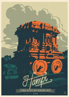 Discover India - Hampi, the City of ruins, a retro poster series by Ranganath Krishnamani. Ranganath Krishnamani, a Bangalore, India based designer and Art And Illustration, Illustrations Posters, Hampi, Poster Design, Design Art, Mc Bess, India Poster, Retro Poster, Kunst Poster