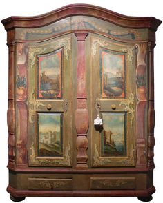 Original tyrolean wardrobe http://www.antichitamissaglia.it/galleria/armadi/a100%20-%20armadio%20con%20paesaggi.html