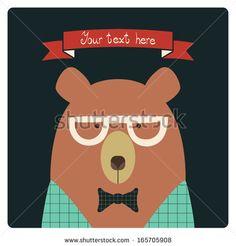 Bear vector card. - stock vector