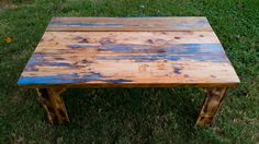 For sale! This my fully completed resin infused coffee table made from worm rot wood. Every inch of blue tinted resin was hand-poured, sanded, and buffed to a glossy shine. The legs of the table were fashioned from scrap wood from previous projects and scorched before staining. Basic Carpentry Tools, Rustic Vintage Decor, Woodworking Projects For Kids, Pallet Ideas, Resin, Scrap, Dining Table, Legs, Coffee