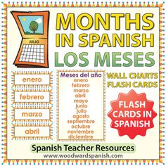 Spanish Months Flash Cards / Charts - Los meses en español