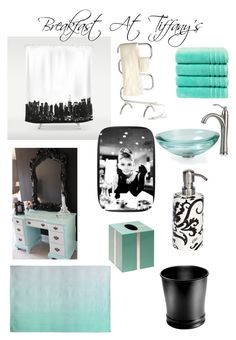 """Bathroom Remodel (Inspired by Breakfast At Tiffany's)"" by disneyperformer01 ❤ liked on Polyvore featuring Dot & Bo, Kraus, Christy, Bungalow 5, Threshold, Jerdon, Etro and bathroom"