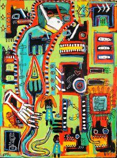 """routine procedure"" , 2015. on canvas by Washington, DC painter Matt Sesow (1966- ). new.sesow.com for more info and to contact matt directly. #sesow #mattsesow #painting #dcart #madeindc #outsiderart #contemporaryart #folkart #madeindc #washingtondcart #dcart #dcpainting #canvas #newpainting #paintingforsale"
