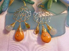Orange Turquoise -Blue Amazonite -Crystal Earrings-FREE SHIPPING!!