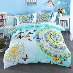 Cliab Butterfly Bedding For Girls Twin Green Moroccan Bohemian Style Sheets 100 Cotton Duvet Cover Set 3 Pieces ** See this great product.