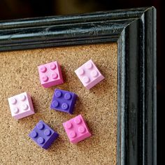Pink Office Supplies | Cool Xmas Gifts for Teen Girls | LEGO® Thumb Tacks | Pink Push Pins for Framed Cork Boards | Pink Girls Room Decor Get 30% off your first order! Details at http://www.BrickAndButton.com