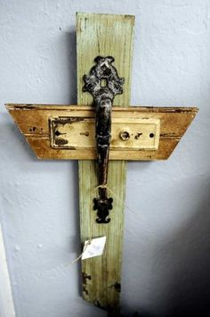 Repurposed door frames cut and made into crosses at the White Dog Market in Beaumont, TX.    Photo taken:  Randy Edwards/The Enterprise / BE