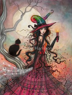 """""""October Flame Witch Cat Halloween Fantasy Art"""" Posters by Molly Harrison 