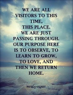 We are all visitors to this time, this place. We are just passing through. Our purpose here is to observe, to learn to grow, to love, and then we return home.