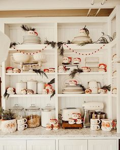 I don't tend to get holiday themed kitchen and dining items because I don't have the storage and I like to use what we already have. But I do love me some vintage Santa mugs like the ones featured here in home! Cottage Christmas, Christmas Kitchen, Cozy Christmas, Natural Christmas, Xmas, Vintage Farm, Vintage Santas, The Found Cottage, Thanksgiving Eve