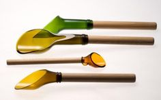 Scoops made from tops of wine bottles. How the heck do you cut them like that and smooth the edges?