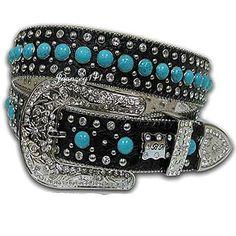 M-L-XL Women Western Turquoise Black Cowgirl Belt BHW Blue Bling Rhinestone Stud #BHW