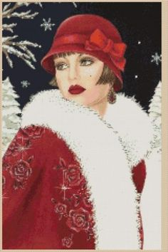 Cross Stitch Chart Art Deco Lady with Red Coat with Backkground No 8VB 53 | eBay