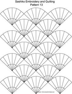 Japanese Embroidery Designs FREE Sashiko Embroidery Patterns - Set 2 - This form of embroidery uses straight or curved geometric designs stitched in a repeating pattern. Find free patterns here. Embroidery Patterns Free, Embroidery Kits, Quilt Patterns, Machine Embroidery, Embroidery Designs, Embroidery Scissors, Embroidery Supplies, Embroidery Needles, Floral Patterns