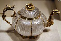 Indian rock crystal teapot (c1700) with German mounts (1720) at Metropolitan Museum of Art. New York, NY.
