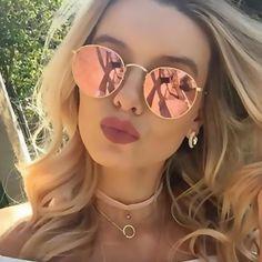 HAPIGOO Vintage lunettes de Soleil Rondes Femmes De Mode Marque Designer  Classique Vapeur Punk Miroir Lunettes de Soleil Pour Femme UV400 da0657e518ef