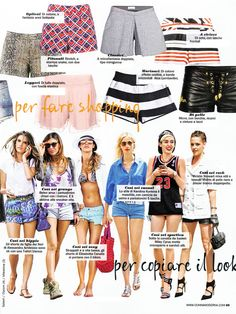 DONNA MODERNA Italia - August 2013. #BW striped #shorts by #AtosLombardini.