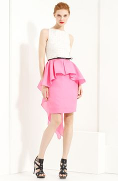 Floaty peplum waist that trails to a dramatic cascade in back. Belted Peplum Dress by Jason Wu