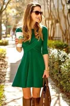 The Mint Julep Boutique, Double Cross Dress, Green Dress, Fall Fashion, Stephanie Ziajka, Diary of a Debutante