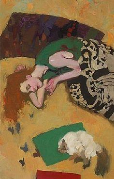 'Cats Dream of Butterflies Too', by Milt Kobayashi (Japanese-American, NY-Hawaii-LA) Milt Kobayashi, Art Quotidien, Great Paintings, Portrait Art, Pencil Portrait, Portraits, Figure Painting, Figurative Art, Cat Art