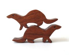 Wooden Otter Pair Waldorf Toys Miniature Noah's Ark Animals Zoo Woodland Play Set Hand Cut Scroll Saw on Etsy, $10.00