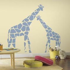 Mommy and Me Giraffe Peel and Stick Wall Decals - Wall Sticker Outlet