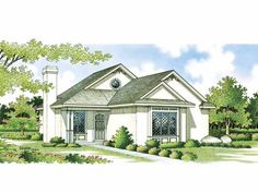 Floor Plan AFLFPW02420 - 1 Story Home Design with 2 BRs and 2 Baths