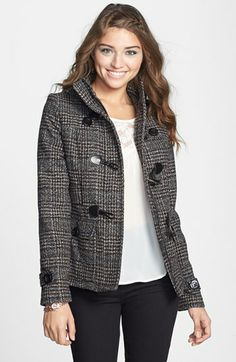 Pink Envelope Detachable Hood Toggle Front Coat (Juniors) (Online Only) available at #Nordstrom
