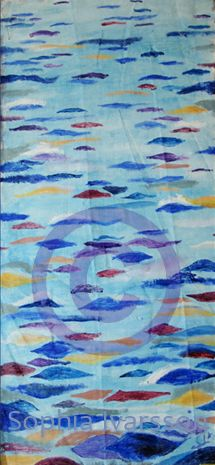 Fashinerad av havsglitter målade jag Glitter och den är 92x45 cm, målat i olja, och kostar : 3000 kr Glitter, Quilts, Blanket, Quilt Sets, Quilt, Rug, Blankets, Log Cabin Quilts, Cover