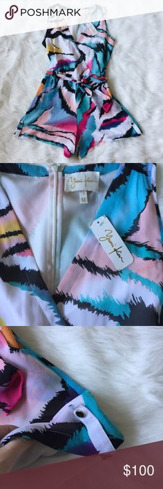 Yumi Kim Multicolored Silk Romper NWT  bust 37 inches // inseam 3.5 inches // back to crotch 27 inches Yumi Kim Pants Jumpsuits & Rompers