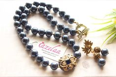 Golden Necklace, Necklace Set, Blue Pearl, Pearl Jewelry, Beautiful Necklaces, Earring Set, Things To Come, Jewellery, Pearls